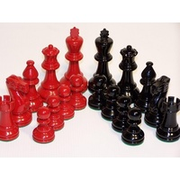 Chess Pieces - French lardy, Boxwood,red & black, 95mm Wood Double Weighted