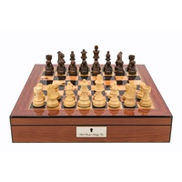 "Chess Pieces - French lardy, Boxwood/Sheesham85mm Wood Double Weighted"" (L3010DR & L2250DRBOX)"