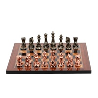 Dal Rossi Italy Chess Set with Diamond-Cut Copper & Bronze 85mm chessmen on a Walnut Shinny Finish Chess Board 16""