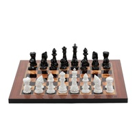 "Dal Rossi Italy Chess Set with Diamond-Cut Black & White 85mm chessmen on a Walnut Shinny Finish Chess Board 16""�"