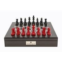 Dal Rossi Italy Carbon Fibre Shiny Finish chess box with compartments 16in with French Lardy Black/ Red 85mm Chessmen