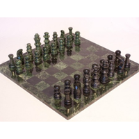 Marble Chess Set  Green & Black Marble 16jn M1041EA