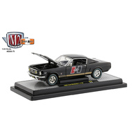 M2 Machines 1/24 1966 Ford Mustang GT 2+2 Gloss Black w/Gold Stripe Diecast Car