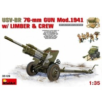 Miniart 1/35 USV-BR 76-mm Gun Mod.1941 w/Limber & Crew 35129 Plastic Model Kit