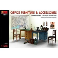 Miniart 1/35 Office Furniture & Accessories 35564 Plastic Model Kit