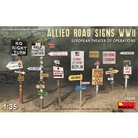 Miniart 1/35 Allied Road Signs WWII. European Theatre Of Operations Plastic Model Kit
