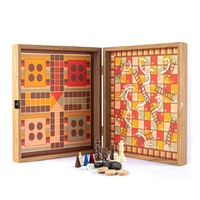Manopoulos Chess/ Backgammon/ Ludo/ Snakes - Rainbow - Walnut Replica Wooden Case