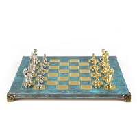 Manopoulos Classic Metal Staunton Chess Set With Gold & Silver Chessmen & 36cm Chessboard In Turquoise