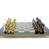 Manopoulos Greek Mythology Metal Chess Set With Green & Gold Chessmen & 36cm Chessboard In Green