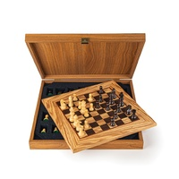 Manopoulos Wooden Chess Set Olive Burl Chessboard 34cm With Staunton Chessmen