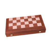 Manopoulos Handmade Mahogany Inlaid Chess & Backgammon With Black And Oak Points 38x20cm