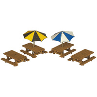 Metcalfe N 3 Table/seat sets with Umbrellas Card Kit