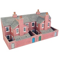 Metcalfe HO Low Relief Terrace Backs Red Brick Card Kit