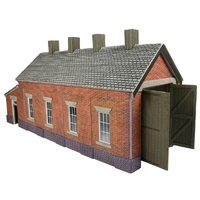 Metcalfe HO Red Brick Sgle Track Engine Shed Card Kit
