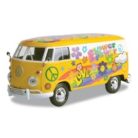 Motormax 1/24 VW Type 2 Flower Power (Yellow (T1) Delivery Van Diecast