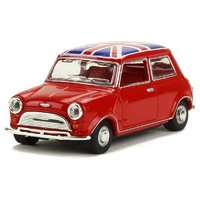 Oxford 1/43 Austin Mini Tartan Red/Union Jack