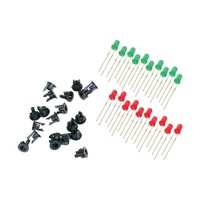 Peco LEDs- 3mm- 10x Red- 10x Green- 20x Panel Clips