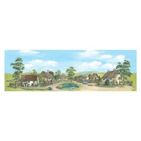 Peco HO Backscene: Village with Pond