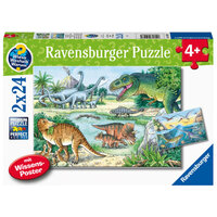 Ravensburger - 2x24pc Dinosaurs of land and sea