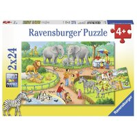Ravensburger - 2x24pc A Day at the Zoo Jigsaw Puzzle 07813-4