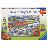 Ravensburger - 2x24pc Busy Train Station Jigsaw Puzzle 09191-1