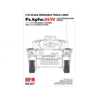 Ryefield 5037 1/35 Workable track links for Pz.III/IV.late production (40cm) Plastic Model Kit