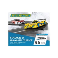 Scalextric Banked Curve 45 Degrees (2) With Supports Radius 2