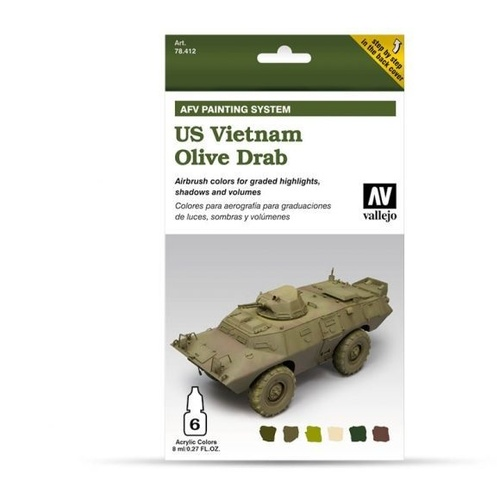 Vallejo Model Air AFV Set US Vietnam Olive Drab 6 Colour Acrylic Paint Set