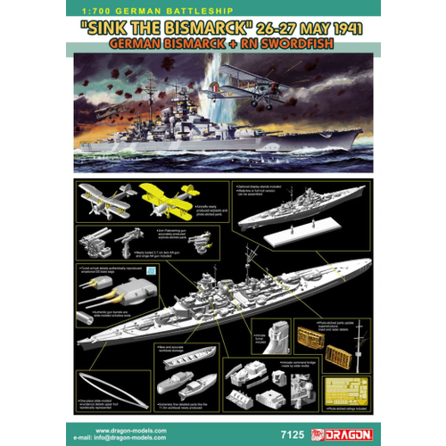 Dragon 1/700 Sink the Bismark 1941 - Bismark + RN Swordfish DR 7125