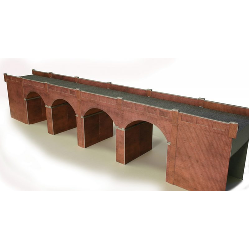 Metcalfe HO Double Track Viaduct Red Brick Card Kit