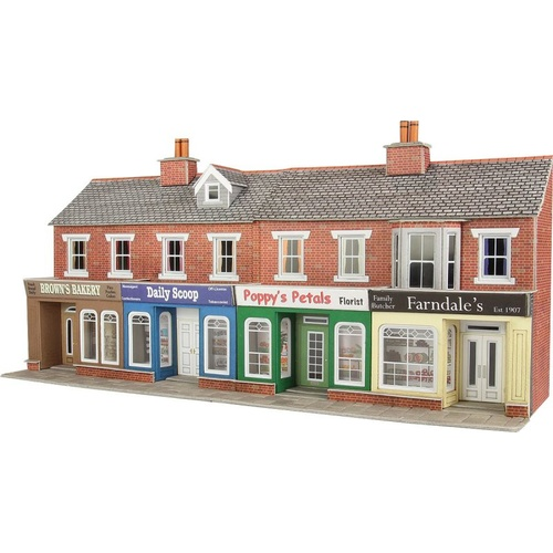 Metcalfe HO Low Relief Red Brick Shop Fronts Card Kit