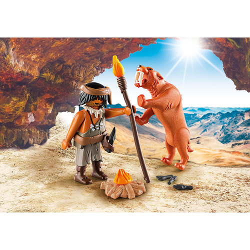 Playmobil - Caveman with Sabertooth Tiger